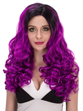 AF-S2-633191 Halloween Long Curly Wigs Balck Purple Ombre Women's Side Parting Synthetic Hair Wigs