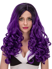 Anime Costumes AF-S2-633099 Halloween Long Wigs Women's Purple Curly Layered Hair Wigs With Plastic Netting Cap