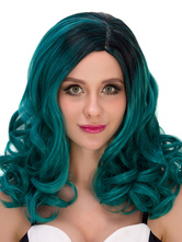 Anime Costumes AF-S2-633091 Halloween Women's Wigs Curly Green Shoulder Length Synthetic Hair Wigs