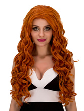 Anime Costumes AF-S2-633149 Halloween Long Wigs Curly Wavy Hair Layered Centre Parting Synthetic Wigs For Women