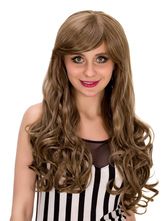 Anime Costumes AF-S2-633233 Women's Long Wigs Halloween Curly Side Swept Hair Wigs In Flaxen