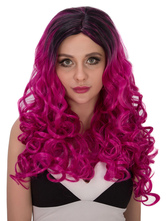 Anime Costumes AF-S2-633129 Halloween Curly Wigs Long Ombre Women's Layered Synthetic Hair Wigs In Black & Rose Red