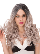 Anime Costumes AF-S2-633159 Long Curly Wigs Halloween Black Gray Ombre Women's Side Parting Synthetic Hair Wigs