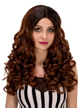 Anime Costumes AF-S2-633231 Brown Halloween Wigs Long Crimped Curls Center Parting Hair Wigs For Women