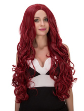 Anime Costumes AF-S2-633133 Halloween Long Wigs Burgundy Curly Layered Centre Parting Synthetic Hair Wigs For Women