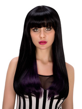 Anime Costumes AF-S2-633235 Halloween Long Wigs Women's Straight Blunt Fringe Hair Wigs In Deep Purple
