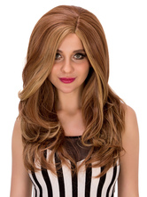 Anime Costumes AF-S2-633225 Halloween Long Wigs Brown Curly Side Parting Hair Wigs For Women