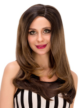 Anime Costumes AF-S2-633205 Women's Long Wigs Halloween Straight Side Parting Brownish Black Synthetic Wigs