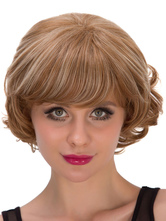 Anime Costumes AF-S2-633271 Halloween Short Wigs Brown Curly Hair Wigs With Bangs For Women