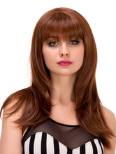Anime Costumes AF-S2-633257 Halloween Long Wigs Straight Brown Layered Synthetic Hair Wig With Blunt Fringe