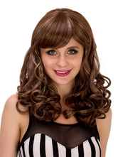 Anime Costumes AF-S2-633223 Brown Long Wig Halloween Full Volume Curls Side Swept Layered Hair Wigs For Women