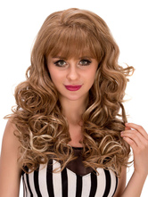 Anime Costumes AF-S2-633259 Women's Long Wigs Halloween Curly Flaxen Layered Blunt Fringe Hair Wig