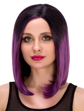 Anime Costumes AF-S2-633247 Purple Short Wigs Halloween Straight Side Parting Black To Purple Synthetic Hair Wigs For Women