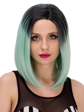 Anime Costumes AF-S2-633281 Women's Short Wigs Halloween Straight Center Parting Black To Light Green Hair Wigs