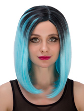 Anime Costumes AF-S2-633243 Halloween Short Wigs Straight Center Parting Boycut Layered Hair Wigs Black To Sky Blue