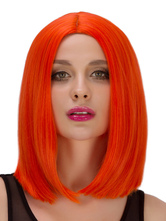 Anime Costumes AF-S2-633275 Halloween Short Wigs Women's Straight Boycuts Center Parting Hair Wigs In Dark Orange