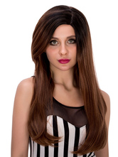 Anime Costumes AF-S2-633237 Brown Long Wigs Halloween Straight Side Parting Synthetic Wigs For Women