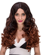 Anime Costumes AF-S2-633097 Halloween Long Wigs Women's Curly Brownish Black Ombre Centre Parting Layered Hair Wigs