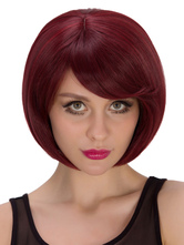 Anime Costumes AF-S2-633269 Halloween Burgundy Bobs Short Wigs Straight Synthetic Hair Wigs
