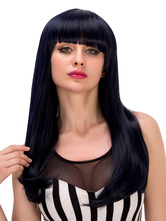 Anime Costumes AF-S2-633227 Black Long Wigs Halloween Straight Layered Hair Wigs With Blunt Fringe