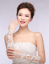 Lace Wedding Gloves Ivory Ribbon Cut Out Flower Fingerless Elbow Length Bridal Gloves