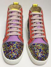 Мужские коньках обувь горный хрусталь цвет блока плоский кружева круглый Toe Туфли повседневные