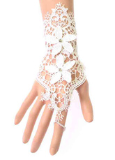 Lace Wedding Gloves Fingerless Flowers Applique Wrist Length Bridal Gloves