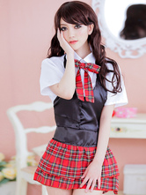 Anime Costumes AF-S2-633367 Halloween School Girl Costume Nerd Sexy Uniform Women's Plaided Mini Skirt Outfit In 4 Piece Set
