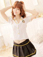 Anime Costumes AF-S2-633373 Halloween School Girl Sexy Nerd Costume Women's Mini Skirt Outfit With White Shirt