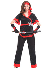 Anime Costumes AF-S2-633445 Women's Ninja Costume Halloween Red Ninja Costume Outfit In 4 Piece Set