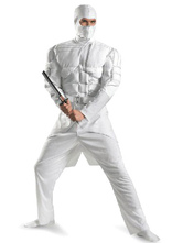 Anime Costumes AF-S2-633449 Halloween Ninja Costume White Men's Muscle Costume Outfit