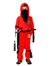 Anime Costumes AF-S2-633451 Red Ninja Costume Halloween Naruto Kids Costumes Outfits Boy Children Swordsman