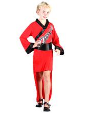 Anime Costumes AF-S2-633459 Halloween Ninja Costume Outfits Girls'red Black High Low Dragon Print Dress Costume With Sash