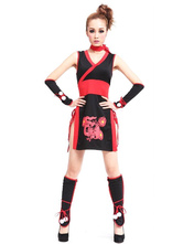 Anime Costumes AF-S2-633345 Halloween Sexy Ninja Costume Women's Red Black Dragon Printed Costume Outfit