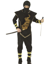 Anime Costumes AF-S2-633351 Halloween Ninja Costume Men's Printed Black Costume Outfit In 4 Piece