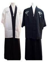 Anime Costumes AF-S2-633341 Halloween Kimono Costume Men's Fans Striped Samurai Costume Outfit In White/Black