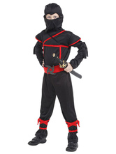 Anime Costumes AF-S2-633339 Halloween Ninja Costume Black Jumpsuit Outfit For Boys