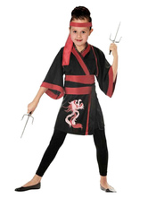 Anime Costumes AF-S2-633333 Girl's Ninja Costume Halloween Red Black Dragon Printed Dress With Headband & Sash