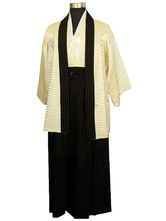 Anime Costumes AF-S2-633331 Halloween Kimono Costume Men's Black Tassels Striped Samurai Costume Outfit
