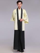 AF-S2-633327 Halloween Kimono Costume Men's Fans Tassels Striped Samurai Costume Outfit