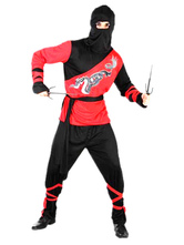 Anime Costumes AF-S2-633465 Men's Ninja Costume Halloween Red Black Dragon Printed Costume Outfit In 4 Piece
