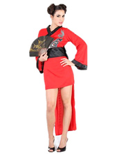 Anime Costumes AF-S2-633463 Sexy Ninja Costume Halloween Women's Red High Low Dragon Printed Dress With Sash