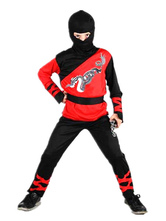 Anime Costumes AF-S2-633461 Men's Ninja Costume Halloween Red Black Dragon Printed Kids Costume Outfit In 4 Piece
