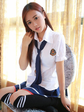 Anime Costumes AF-S2-633403 Halloween Sexy School Girl Costumes Nerd Short Puff Sleeve Shirt With Mini Skirt