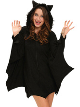 Anime Costumes AF-S2-635413 Halloween Bat Costume Black Hooded Oversized Women's Cloak
