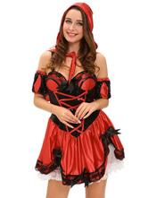 Anime Costumes AF-S2-635415 Halloween Miss Red Riding Hood Costume Strappy Sleeveless Bowed Skater Dress In 3 Piece Set