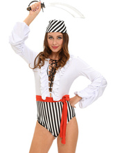 Anime Costumes AF-S2-635419 Halloween Sexy Pirate Costume Two Tone Long Sleeve Criss Cross Jumpsuit With Sash & Hat