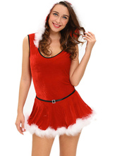 Anime Costumes AF-S2-635431 Sexy Christmas Costume Red Santa Teddy And Skirt Costume Soft Fur Trim Costume With Hood In 2 Piece