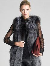 Gilet fausse fourrure Gris foncé manteau hiver femme sans manches