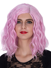 Anime Costumes AF-S2-633499 Halloween Pink Wigs Women's Wavy Shoulder Length Side Parting Hair Wigs